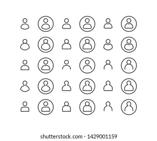 SImple set of User or profile people or person vector Liner outline icons Illustration for web, mobile app, account, social media. EPS10