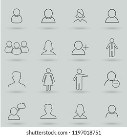 Simple set of user related outline icons. Elements for mobile concept and web apps. Thin line vector icons for website design and development, app development. Flat vector illustration
