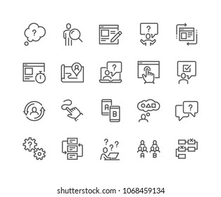 Simple Set of UX Related Vector Line Icons. Contains such Icons as User Flow, Journey Map, A/B Testing and more. Editable Stroke. 48x48 Pixel Perfect.