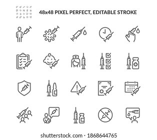 Simple Set of Vaccine Related Vector Line Icons. Contains such Icons as Warning, Medical Syringe, Quality Certificate and more. Editable Stroke. 48x48 Pixel Perfect.