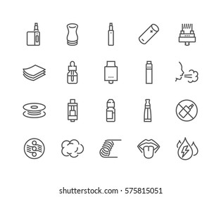 Simple Set of Vape Related Vector Line Icons.  Contains such Icons as RDA, Atomizer, Drip Tip and more. Editable Stroke. 48x48 Pixel Perfect.