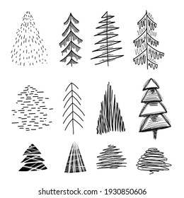 Simple Set of various lagom firs with hatching style. Hand-drawn Christmas trees. Vector ink element for cards, stamps, banners and your creativity