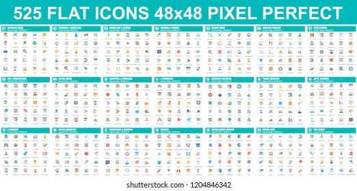 Simple set of vector flat icons. Contains such Icons as Business, Marketing, Shopping, Banking, E-commerce, SEO, Technology, Medical, Education, Web Development, and more. Flat pictogram pack.