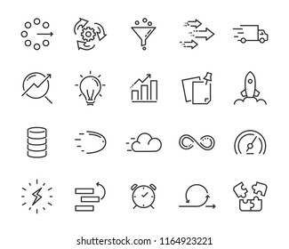 simple set of vector line icon, contain such lcon as speed, agile, boost, process, time and more