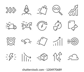 simple set of vector line icons, contain such lcon as speed, boost, process, time and more