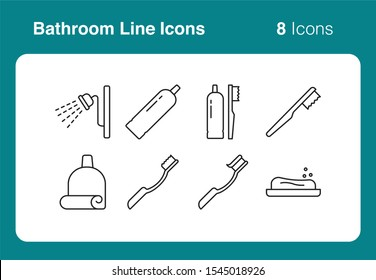 Simple set of vector line icons of bathroom business. Usable for modern concepts, web, apps and flyer.