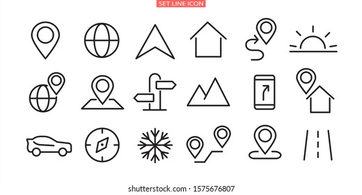 A simple set of vector line icons associated with a route. Contains icons such as Map with Pin, Route Map, Navigator,