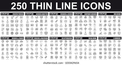 Simple set of vector thin line icon. Contains such Icons as Creative Process, Business Analytics, Finance, E-Commerce, SEO, Medicine and Healthcare, Social Media and more. Linear pictogram pack.