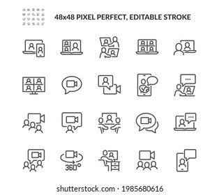 Simple Set of Video Conference Related Vector Line Icons. Contains such Icons as Group Chat, 360 Degree View Camera, Video Call and more. Editable Stroke. 48x48 Pixel Perfect.
