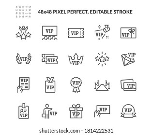 Simple Set of VIP Related Vector Line Icons. Contains such Icons as Special Guests List, Red Carpet, VIP Line and more. Editable Stroke. 48x48 Pixel Perfect.