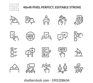 Simple Set of Voting Related Vector Line Icons. Contains such Icons as Raising Hands, Ratings of Candidates, Electronic voting and more. Editable Stroke. 48x48 Pixel Perfect.