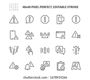 Simple Set of Warnings Related Vector Line Icons. Contains such Icons as Alert, Exclamation Mark, Warning Sign and more. Editable Stroke. 48x48 Pixel Perfect.
