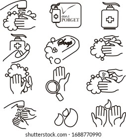 Simple Set of Washing Hands Related Vector Line Icons. Contains such Icons as Washing Instruction, Antiseptic, Soap and more. very simple
