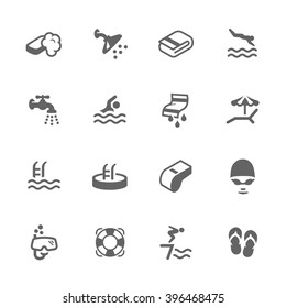 Simple Set of Water Pool Related Vector Icons. Contains such icons as swimming, shower, towels and more.
