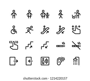Simple Set of Wayfinding Related Vector Line Icons. Contains such Icons as sign, male, women, walking, run, wheelchair and More. pixel perfect vector icons based on 32px grid. Editable Strokes