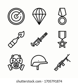 Simple Set Weapons Vector line Icons. Line with Editable stroke