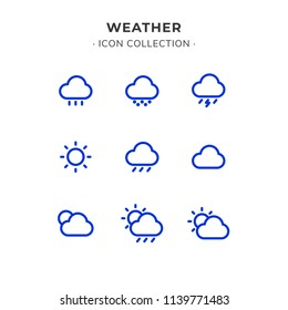 Simple Set of Weather Related Vector Line Icons. Contains such Icons as Wind, Blizzard, Sun, Rain and more. Trendy Flat Style isolated on Slate White Background.