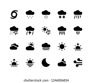 Simple Set of Weather Related Vector Glyph Icons. Contains such Icons as cloud, sleet, snow, rain, wind, thunder and More. pixel perfect vector icons based on 32px grid. Well Organized and Layered