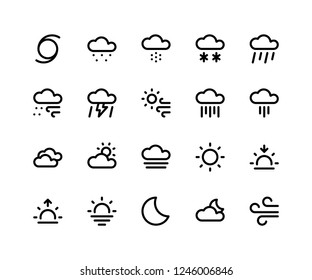Simple Set of Weather Related Vector Line Icons. Contains such Icons as cloud, sleet, snow, rain, wind, thunder and More. pixel perfect vector icons based on 32px grid. Editable Strokes