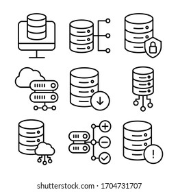Simple Set of Web Hosting Related Vector Line Icons.