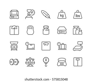 Simple Set of Weight Related Vector Line Icons.  Contains such Icons as Scales, Feather, Balance and more. Editable Stroke. 48x48 Pixel Perfect.