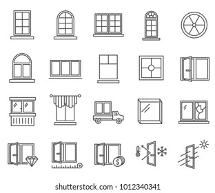 Simple set of window Related Vector Line Icons. Includes such Icons as plastic window, thermal insulation, sound insulation, frame, glass, balcony and more.
