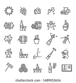 Simple Set of Wine Related Vector Line Icon