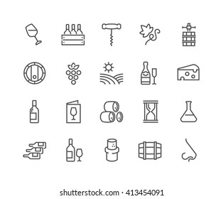Simple Set of Wine Related Vector Line Icons.  Contains such Icons as Wine Press, Winery, Nose, Cork, Cheese, Menu Vineyard and more.  Editable Stroke. 48x48 Pixel Perfect.