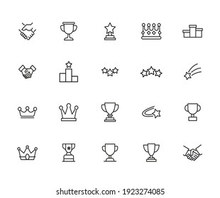 Simple set of winner icons in trendy line style. Modern vector symbols, isolated on a white background. Linear pictogram pack. Line icons collection for web apps and mobile concept.