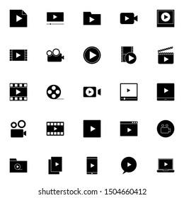 simple sets of video player solid icons suitable for web, app, interface and software.