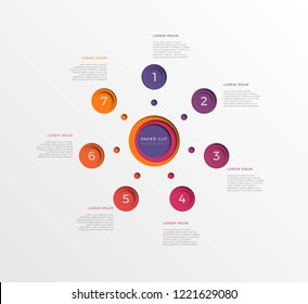 simple seven steps infographic template with round paper cut elements. business process diagram for brochure, banner, annual report and presentation. easy for edit and customize. eps10
