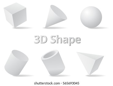 Simple shape color white and gray 3D style.