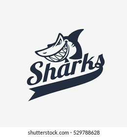 Simple shark logo with title. Vector illustration.