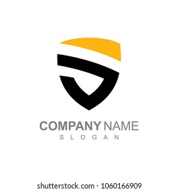 Simple Shield Letter S, Flat Logo Template