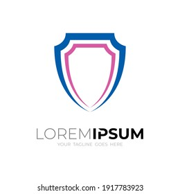 Simple shield logo template, Line style with modern icons
