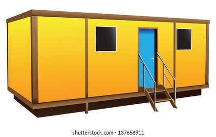 Simple shield Mobile home for temporary residence. Vector illustration.
