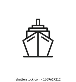 Simple ship line icon. Stroke pictogram. Vector illustration isolated on a white background. Premium quality symbol. Vector sign for mobile app and web sites.