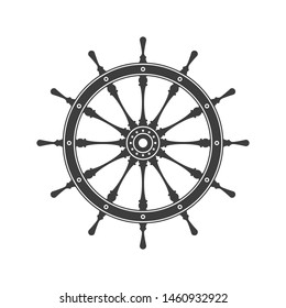 Simple ship wheel. Boats helm isolated on white background. Rudder icon. Marine vintage vector illustration. EPS 10.