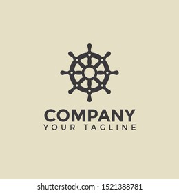Simple Ship Wheel Nautical Logo Design Template