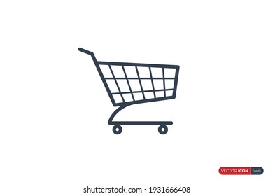 Simple Shopping Cart Icon Line isolated on White Background. Flat Vector Illustration Usable for Web and Mobile Apps. Shopping Trolley Vector Icon Design Template Element.