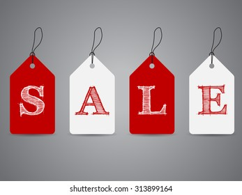 Simple shopping labels with sale text and shadows