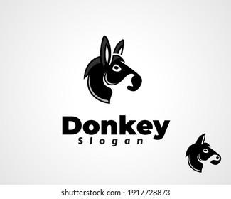 simple silhouette Donkey horse head vector logo design inspiration illustration
