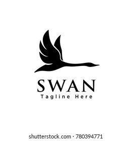 simple Silhouette flying swan logo