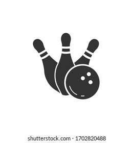 Simple silhouette icon bowling skittles with ball. Vector illustration