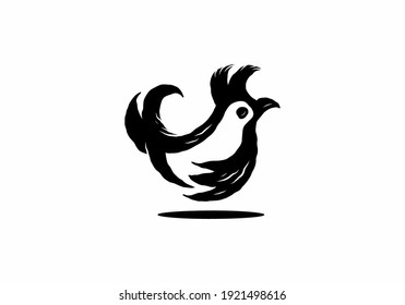 Simple silhouette illustration of a little rooster