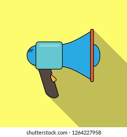 Simple silhouette of a megaphone, a device to enhance the sound, long shadow
