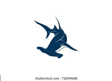 Simple Silhouette of Swimming Hammerhead Shark