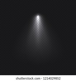 Simple single transparent light effect isolated on dark background. Template vector illustration.