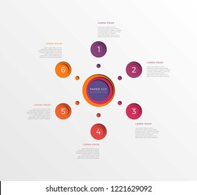 simple six steps infographic template with round paper cut elements. business process diagram for brochure, banner, annual report and presentation. easy for edit and customize. eps10