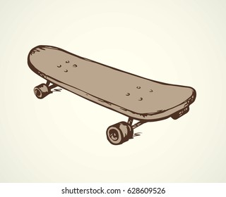 Simple skate isolated on white backdrop. Freehand outline black ink hand drawn picture sketchy in grunge art scribble style pen on paper. Close up top view with space for text